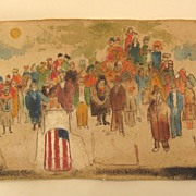 Vintage Painting on Canvas - Political or Patriotic Outsider Art