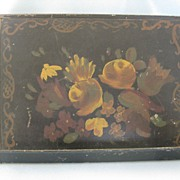Vintage Small Hand Painted Tole Metal Book or Letter Stand
