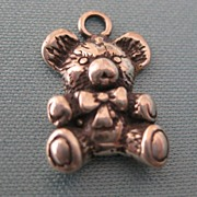 Adorable Sterling Silver Teddy Bear Vintage Charm or Pendant