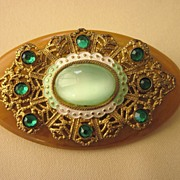 Vintage Embellished End Of Day Bakelite Oval Brooch