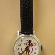 Vintage Bradley Mickey Mouse Swiss Made Wind Up Watch, C. 1970