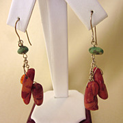 Coral, Turquoise and Sterling Silver Pierced Dangle Earrings
