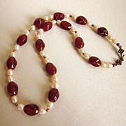 Elegant Carnelian and Freshwater Pearl 20&quot; Necklace With Copper Beads and Clasp