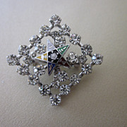 Rhinestone Enamel Eastern Star Brooch