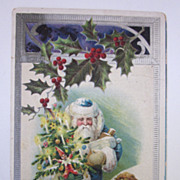 1907 Christmas Postcard With Blue Santa With Child and Toys