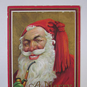 Antique Series 213D Unique Santa With Pipe Christmas Postcard, Showing Teeth  with Tassel Cap