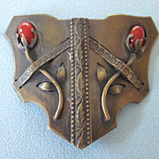 Fabulous 1930's Bronze Finish Buckle With Faux Coral Flowers