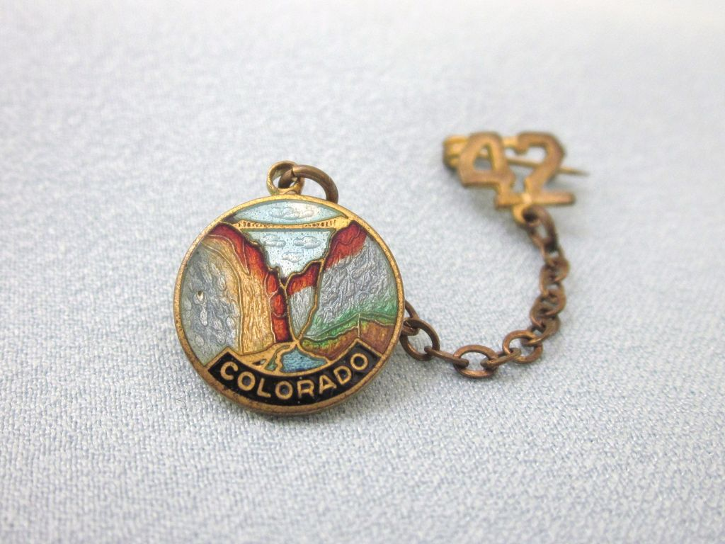 Vintage 1942 Enamel Colorado Swag Pin