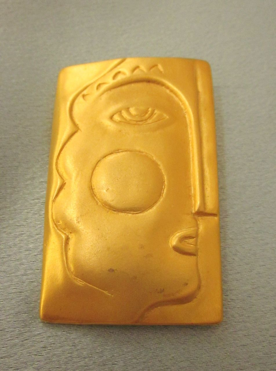 Vintage Picasso Design Rectangle Face Brooch