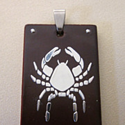 Inlaid Wood and Stainless Steel Spider Pendant