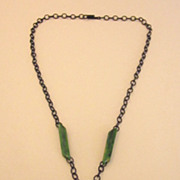 Stunning Green Bakelite Medallion Pendant Necklace With Black Metal Chain