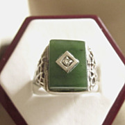 Fabulous Vintage Sterling Silver, Chrysophase and Diamond Unisex Ring, Size 8
