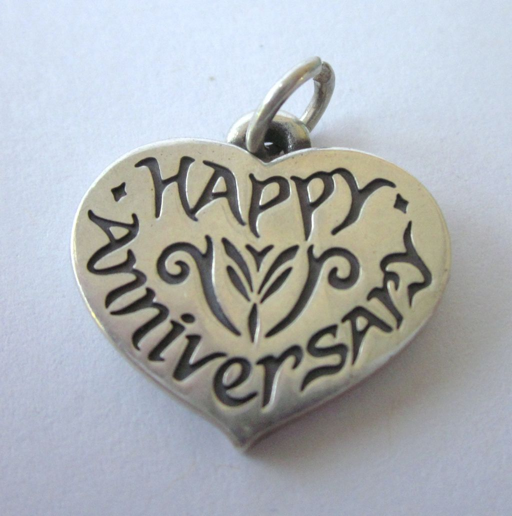 Vintage Happy Anniversary Heavy Sterling Silver Heart Charm