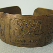 1934 Chicago World's Fair Brass Cuff Bracelet