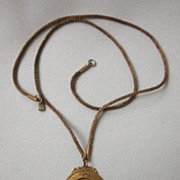Vintage Brass Long Repousse Pendant Necklace