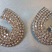 Brilliant Rhinestone Pave Pierced Earrings