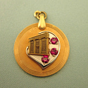Vintage Gold Filled and Red Spinel Charm or Pendant