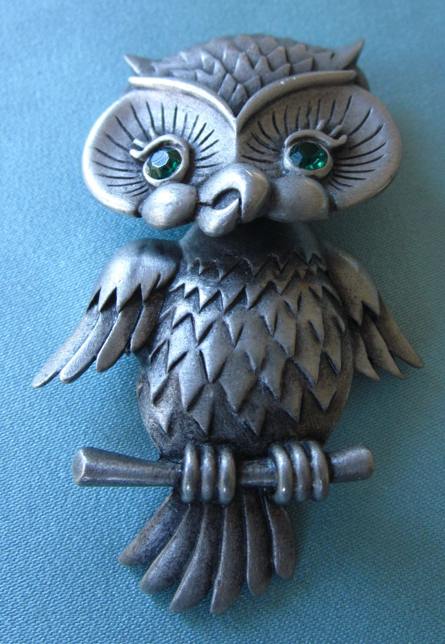 Vintage Jonette Hinged Swivel Owl Pewter Brooch