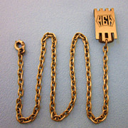 Art Deco Monolinx Gold Filled Fob Clip and Chain, Monogrammed