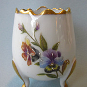 Lovely Limoges Footed Gilt Floral Egg Toothpick Holder or Petite Vase
