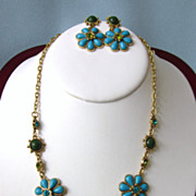 Faux Turquoise and Rhinestone Necklace and Pierced Earring Set