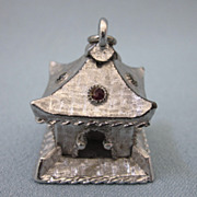 Vintage Large Silvertone Pagoda Removable Charm or Pendant