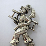 Vintage Large Cast Metal Chimney Sweeper 3-D Pendant or Charm