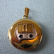Unusual Vintage Gold Filled Locket With Spinel and Diamond