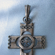 Vintage Signed ART Huge Cross Pewter Pendant
