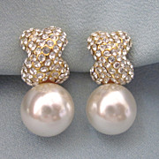 Gorgeous Faux Pearl and Rhinestone Pave Clip Back Earrings