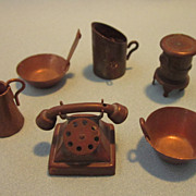 Vintage Group of Copper Miniatures, Moveables, Telephone, Sifter