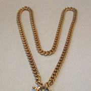 Vintage Bold Enamel and Goldtone Turtle Necklace
