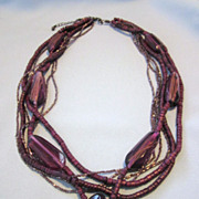 Multistrand Plum Lucite, Wood and Bugle Bead Long Necklace