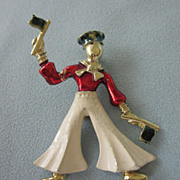 Adorable Vintage Enamel Sailor With Flags Brooch