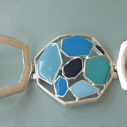 Bold Silvertone and Blue Enamel Wide, Sleek Bracelet