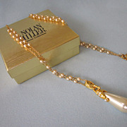 Signed Nolan Miller Faux Pearl Pendant Goldtone Necklace