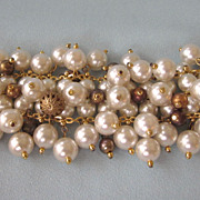 Chunky, Wide Faux Pearl and Gilt Dangles Bracelet