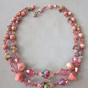 Stunning Pink and Rainbow Art Glass Double Strand vintage Necklace
