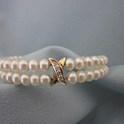 Freshwater Pearl, Sterling and Diamond Wire Cuff Bracelet
