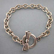 Sterling Silver Signed Toggle Link Bracelet