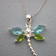 Sweet Sterling Silver and CZ Dragonfly Pendant Necklace