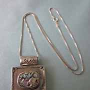 Sterling Silver and Abalone Bold Pendant Necklace
