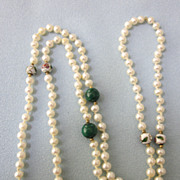 "Hand Knotted Freshwater Pearl, Malachite and Cloisonne 27"" Opera Length Necklace"
