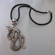 Gothic Theme Skull and Snake Silvertone Pendant Necklace on Cord