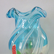"Festive Heavy Blue Glass Floral 6-1/2"" Vase"