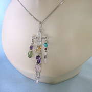 Sterling Silver and Gemstone Pendant Necklace