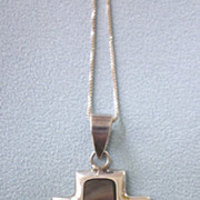 Vintage Sleek Sterling Silver and Inlaid Shell Cross Pendant With Chain