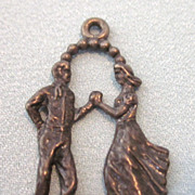 Vintage Sterling Silver Dancing Couple Pendant Charm