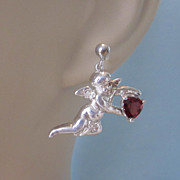 Sterling Silver Cherub Dangle Pierced Earrings With Garnets