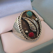 Vintage Sterling Silver, Turquoise and Coral Native American Size 10-1/2 Ring
